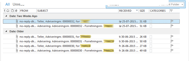 00 mail fra Teller med CSV fil og PD F fil pr advisering